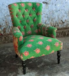 kantha armchair - backed saris? Amazing