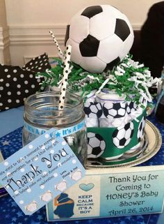 Soccer baby shower idea Baby Boy Soccer, Soccer Baby Showers, Baby Shower Parties, Babyshower, Shower Ideas, Baby Gifts, Cupcakes, Party Ideas, Diaper Parties