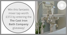 To celebrate the launch of their new range of taps, The Cast Iron Bath Company is offering a rare chance to win this set of premium chrome bath mixer taps, worth £372.  Free to enter. Fits most baths. https://bit.ly/tap-contest