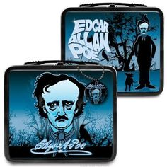"Edgar Allan Poe is known for being the king of the horror story. This 8"" x 7"" x 4"" (20.3 cm x 17.8 cm x 10.2 cm) retro lunchbox pays homage to his dark heritage. Both sides are illustrated with multiple reference to his stories and poems, sure to delight hardcore fans. The lunchbox is made of metal, has a plastic handle and also includes a vinyl dangle. A great gift for English majors or anyone who prefers to look on the dark side of life. $13.19 #gaggifts #lunchbox #edgarallenpoe #poetry…"