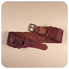 Vintage boho brown leather wide hip hugger belt by AmericanDrifter