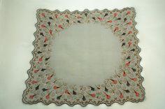 Vintage hankie gray cotton linen with scalloped edge, print pattern around border.