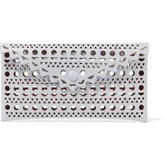 Alaïa Vienne small envelope laser-cut leather clutch, Women's, Size: S ($625) ❤ liked on Polyvore featuring bags, handbags, clutches, leather tote, leather tote handbags, cell phone purse, tote handbags and evening handbags