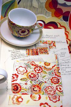 Susan Collier and Sarah Campbell Textiles, Textile Patterns, Textile Design, Fabric Design, Print Patterns, Floral Patterns, Surface Design, Sarah Campbell, Mermaid Drawings