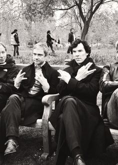Benedict Cumberbatch and Martin Freeman doing the Nerdfighter sign on the set of Sherlock series 3!!!! :D AHHHH LOVE IT!!! Hahaha, except Benedict's not doing the Vulcan salute right and Martin... yeah I don't know what Martin is doing. XD