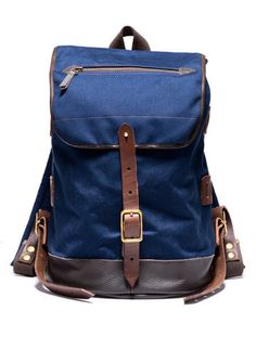 SEIL MARSCHALL Canvas and Leather Rucksack (Navy) | 100% cotton canvas backpack with leather bottom, wool felt padded shoulder straps and brass hardware buckle closure. Handmade in Germany since 1896. | Kauffman Mercantile