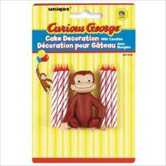 Curious George Cake Decoration w/ 6 Candles*