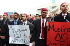 Muslim Men participating in the Men's Rally Against Domestic Violence in Downtown Dallas.  I still don't understand why people believe the media when we get out there and do things like this.