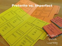 File Folder Game for Preterite and Imperfect ✿ Spanish Learning/ Teaching Spanish / Spanish Language / Spanish vocabulary / Spoken Spanish ✿ Share it with people who are serious about learning Spanish! Spanish Games, Ap Spanish, Learn Spanish, Spanish Grammar, Spanish Language, Spanish Vocabulary, Spanish Teaching Resources, Spanish Activities, Language Activities