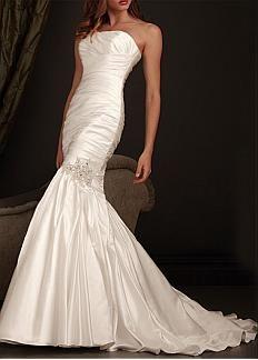 Simple Taffeta Mermaid Strapless Neckline Wedding Dress With Beadings and Rhinestones #DRESSILYME