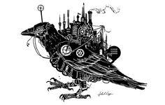 Steampunk Blackbird by *Wystro on deviantART Black Bird Fly, Steampunk City, Steampunk Animals, Logic Design, Broken Wings, Wizard Of Oz, Dieselpunk, Online Art Gallery, Mini Albums