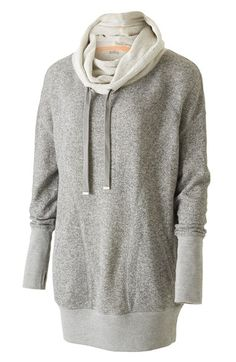 Free shipping and returns on Zella 'Serenity' French Terry Sweatshirt at Nordstrom.com. Fashion meets function on an incredibly cozy and extra-long French terry sweatshirt topped by a slouchy funnel collar that can be cinched in or let loose with a functional drawcord.