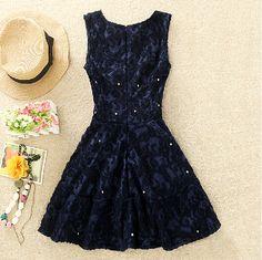 Sleeveless beaded lace princess dress #ER110505