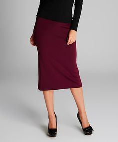 This Damson Back-Slit Pencil Skirt is perfect! #zulilyfinds