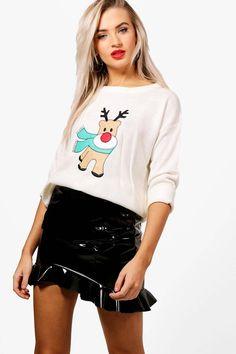 Abigail Applique Reindeer Christmas Jumper