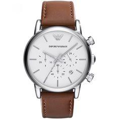 e4230ea62a Reloj Emporio Armani de extensible tipo correa en piel color café; carátula  lisa en tono