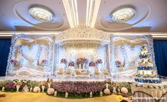 The wedding stage for Tommy and Fefe at Raffles Jakarta with Grasida Decoration as the decorator and Lightworks as the lighting designer