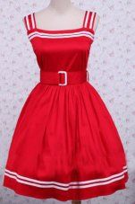 Red Cotton Sleeveless School Lolita Dress