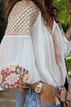 White blouse with beautiful embroidered detail