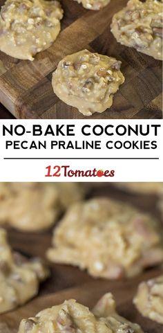 U have to sub some ingredients - No-Bake Coconut Pecan Praline Cookies Brownie Cookies, No Bake Cookies, Cookie Desserts, Cookies Et Biscuits, Just Desserts, Delicious Desserts, Bar Cookies, Pudding Cookies, Creative Desserts