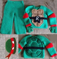 "I designed these costumes for my kids over 20 years ago. Now, the Turtles are popular again, and my ""kids"" said I should make and sell them. Pattern sells for $5 at my etsy.com shop, TresChicCrochet. Includes shells with adjustable straps, cap, mask belt, and bands (including knees). Photo shows sweater & pants, but these are not available. Thanks for looking."