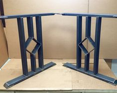 Design Dining Table Legs, Three Bars With Middle Square, Industrial Legs, Sturdy Set of 2 Steel Legs