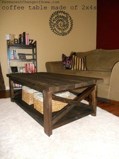 DIY 2x4 Coffee Table by Permanent Change of Home. Mega cute!