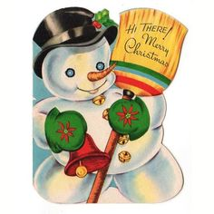 Vintage 1940s Christmas Greeting Card Adorable Snowman with Broom Mittens and…