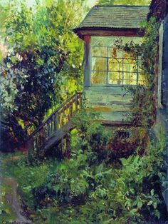 Stanislav Zhukovsky (1875–1944) A Country House. Terrace oil on canvas 38,2 x 29 cm State Tretyakov Gallery, Moscow