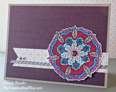 Colored Card by Wendy Kessler Ornate Blossoms Stamp Set, Sangria Paper Packet… Scrapbook Blog, Scrapbook Page Layouts, Scrapbook Pages, Scrapbooking, Happy Photography, Heart Cards, Purple Glitter, Watercolor Techniques, Close To My Heart