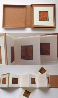 """non being"" dry-point print, miniature objects (handmade and found), screen printed wood pattern. Jan 2013 ""Binding Grandma"", Drypoint prints, found objects, handmade papers. June 2012. ""How To Tie a..."