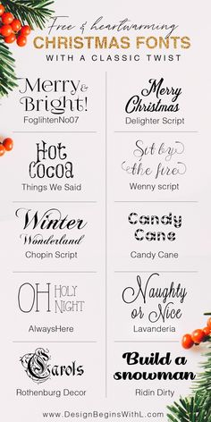 10 Free and Heartwarming Christmas Fonts With a Classic Twist Even though it's still too warm outside to possibly get into the Christmas spirit with sweaters and Santa hats, but the timing is perfect to tac… Farmhouse Font, Farmhouse Signs, Farmhouse Ideas, Fall Fonts, Winter Fonts, Christmas Fonts, Thanksgiving Fonts, Holiday Fonts, Christmas Christmas