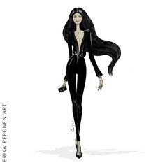 Fashion illustration for Saija K Power Woman - catwalk - Erika Reponen Art - black hair - long hair - bodysuit