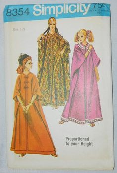 Simplicity 8354 Caftan Pattern 1969 Boho Hippie Kaftan New Uncut Vintage One Sz | eBay