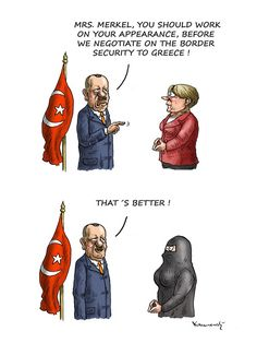 Merkel and Erdogan, Marian Kemensky,Slovakia,Merkel,Erdogan,refugee crisis