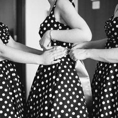 Rainbow Polka Dot bridesmaids dresses (and bonus rainbow petticoat for the bride!)