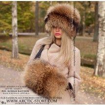 russian raccoon hat - coon fur hand-muff - arctic-store
