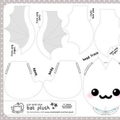 Cut & Sew Bat Plush Ghost custom fabric by sewdesune for sale on Spoonflower Felt Patterns Free, Felt Crafts Patterns, Plushie Patterns, Felt Crafts Diy, Animal Sewing Patterns, Embroidery Patterns Free, Stuffed Animal Patterns, Diy Stuffed Animals, Sewing Patterns Free
