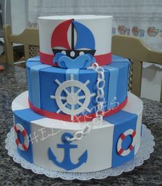 Bolo Fake Eva, Bolo Fack, Boat Theme, Fake Cake, Character Cakes, Nautical Baby, Baby Shower Games, How To Make Cake, Cake Toppers