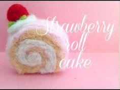 Needle felted strawberry roll cake - YouTube Strawberry Roll Cake, Felted Wool Crafts, Cake Youtube, Needle Felting, Wool Felt, Rolls, Buns, Bread Rolls, Felting