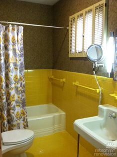 Bathroom  Yellow Bathrooms  Vintage Yellow  Grey  Bathroom Decor