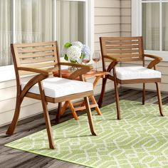 Beachcrest Home Coyne Patio Dining Chair with Cushion Patio Rocking Chairs, Outdoor Dining Chairs, Patio Table, Patio Chairs, Dining Chair Set, Table And Chairs, Outdoor Furniture Sets, Wooden Armchair, Wooden Chairs