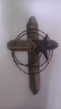 Western Cross, barb wire and made out of old fence post. Description from pinterest.com. I searched for this on bing.com/images
