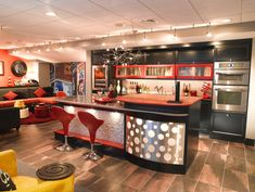Really Cool Basement Interior Design Photos - Basement Diner Bar   Live Love in the Home