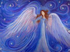 Healing Angel Art Original Acrylic Painting 9 x12 canvas panel