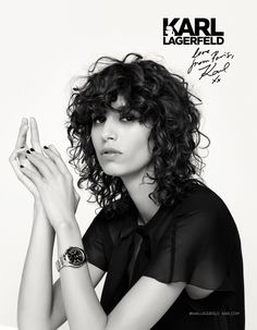 Mica Arganaraz stars in Karl Lagerfeld fall-winter 2016 campaign Curly Hair With Bangs, Curly Hair Cuts, Short Curly Hair, Curly Hair Styles, Curly Bob, Curly Shag Haircut, Curly Fringe, Corte Y Color, Long Bob Hairstyles