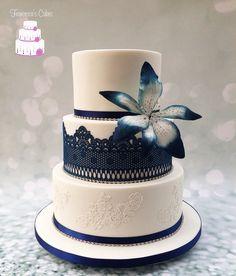 Navy stargazer lily Wedding Cake
