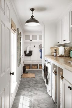 Chip & Joanna Gaines' Best Decors and Designs La. - Chip & Joanna Gaines' Best Decors and Designs La. Grey Laundry Rooms, Mudroom Laundry Room, Laundry Room Cabinets, Farmhouse Laundry Room, Laundry Room Design, Mud Rooms, Laundry Room Floors, Diy Cabinets, Garage Laundry