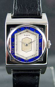 mens vintage lord elgin 21 jewel watch 680 movement for parts or 1928 elgin 212 presentation mens art deco wristwatch e l bezel 14k white gold