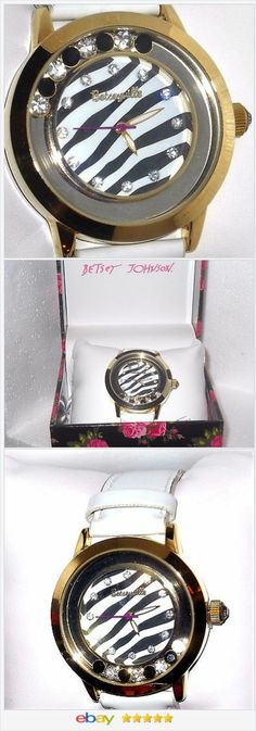 Betsey Johnson Floating Crystal zebra striped Strap WATCH BJ00457 Betseyville http://stores.ebay.com/JEWELRY-AND-GIFTS-BY-ALICE-AND-ANN